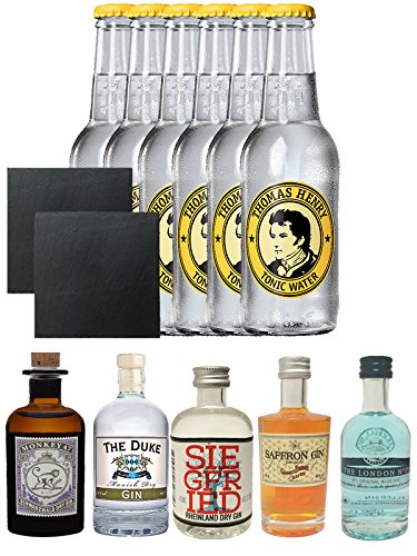 Gin Probierset Monkey, Duke,Siegfried, Saffron, London Blue + 6 x Thomas Henry Tonic Water 0,2 Liter