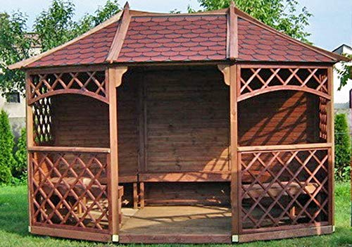2-DAY PREMIUM SHIPPING AVAILABLE 12ft x 9ft (Ex 13ft x 10ft) GARDEN WOODEN PAVILION GAZEBO 10Year Anti Rot Guarente