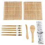 TOPINCN 9pcs / Set Bamboo Sushi Kit Comprend 2 Tapis roulants 5 Paires de Baguettes avec Sac de Rangement Palette étaleur débutant sushis