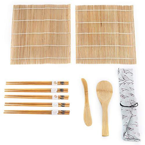 Kit per preparare il sushi di bambù Include 2 tappetini 5 bastoncini 1 paddle 1 Sushi Blade Accessori per utensili 9 pezzi/set