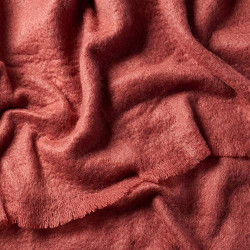 ALLES MOOI Luxuriöse MOHAIRDECKE, 130cm x 180cm. 89% natürliche Fasern. Atmungsaktiv, Leichtwichtig, Langlebig, Farbe Rust