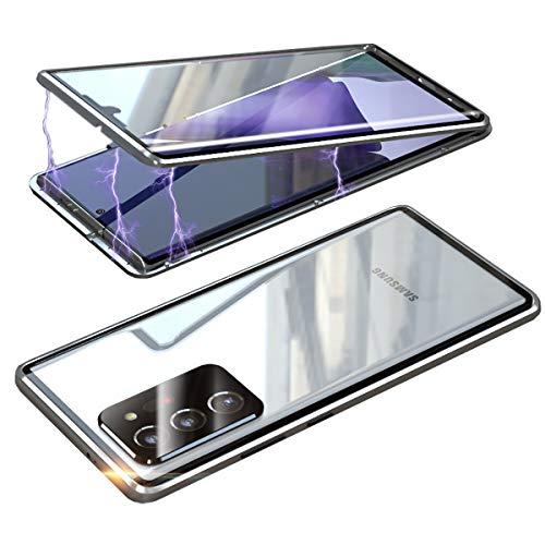 Coque pour Samsung Galaxy Note20 Ultra 5G Adsorption Magnétique Housse,Double Côtés Transparent Verre trempé Protecteur Etui Housse Antichoc Métal Cadre Flip Cover 360 Degré Protection Case (Argent)