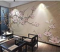 Bosakp ピンクの花の壁紙3D壁壁画画像寝室キャンバスプリントアートウォールペーパーハンドペインティングコンタクトペーパー高級ホームインテリア 360X250Cm