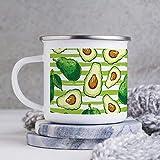 Taza esmaltada de 10 oz para acampar, taza de café esmaltada para acampar, taza de café esmaltada para exteriores, nutrición vegetal vegana, comida vegetariana, plato de cocina, fruta, vasos con asa,