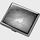 Personalized Gunmetal Paisley Cigarette Case Engraved Free - Ships from USA