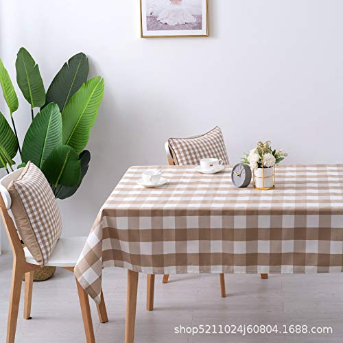 KAINUYA Simple Y Fresco Algodón Y Lino Mantel A Cuadros Mantel Mantel Tela Arte 120 * 120 Caqui