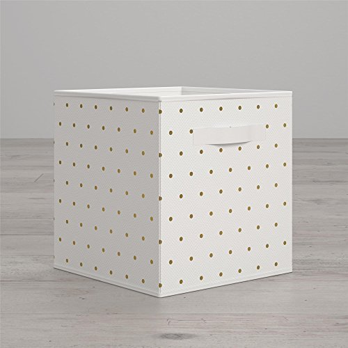 Little Seeds Polka Dot Print Bin, Gold