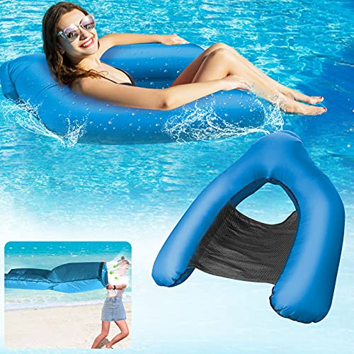 Swimming Floating Pool Chair, Inflatable Pool Floating Aufblasbares Sofa/Water Hammock (Keine Pumpe erforderlich), Foldable Floating Recliner Lounge/Water Sofa/Bed for Adults Kids[Blue]