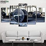 zysymx Moderne Wandkunst Leinwand Rahmen Malerei Modulare Poster 5 Stücke Gewichtheben Sport Gym...