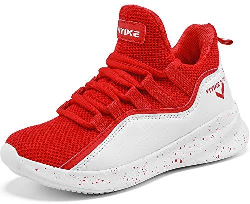 Elaphurus Kinder Hallenschuhe Basketballschuhe Sportschuhe Mädchen Turnschuhe Tennischuhe Kinder Sneaker Laufschuhe,6 Rot,35 EU