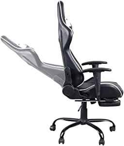 Zebery High Back Swivel Chair Racing Gaming Chair Office Chair with Footrest Tier Black & White