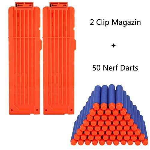 2 Stücke Soft Bullet Magazin für 18 Darts und 50er Nerf Darts für Nerf N-Strike Elite