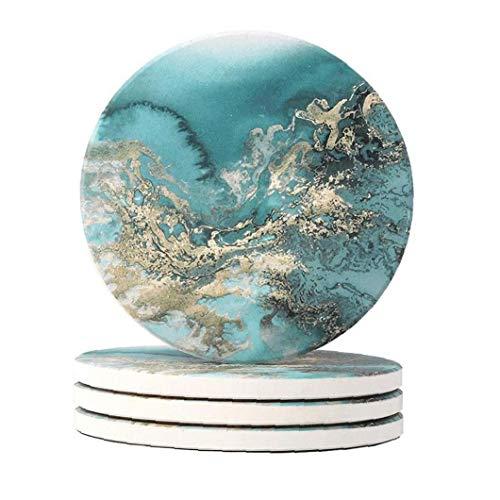 tJexePYK 4PCS Coaster cerámica de Aislamiento térmico Ronda de Corcho Posavasos Antideslizante de la Bebida del café del té Copa Mat Tabla manteles de Ministerio del Interior