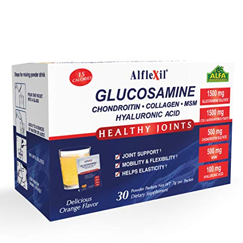 ALFLEXIL Glucosamine, Chondroitin, Collagen & Hyaluronic Acid Powder Supplement for Joints & Bone Health - 30 sachets