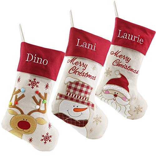 WEWILL Set of 3 Personalized Linen Christmas Stockings Custom Name Embroidered, Reindeer, Santa, Snowman