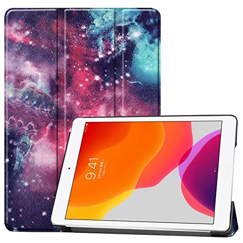 HHF Pad Accesorios para iPad 10.2 2019, Auto Sleep Wake Smart Funda Funda Impresa Tri-Fold Cuero Flip Stand Case para iPad 7th Gen A2197 A2200 A2198 (Color : Galaxy Nebula)