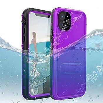 DOOGE iPhone 11 6.1 Waterproof Case IP69k Shockproof Dirtproof Snowproof Full-Body Heavy Duty Protection Rugged Waterproof Case with Kickstand Screen Protector for Apple iPhone 11 6.1