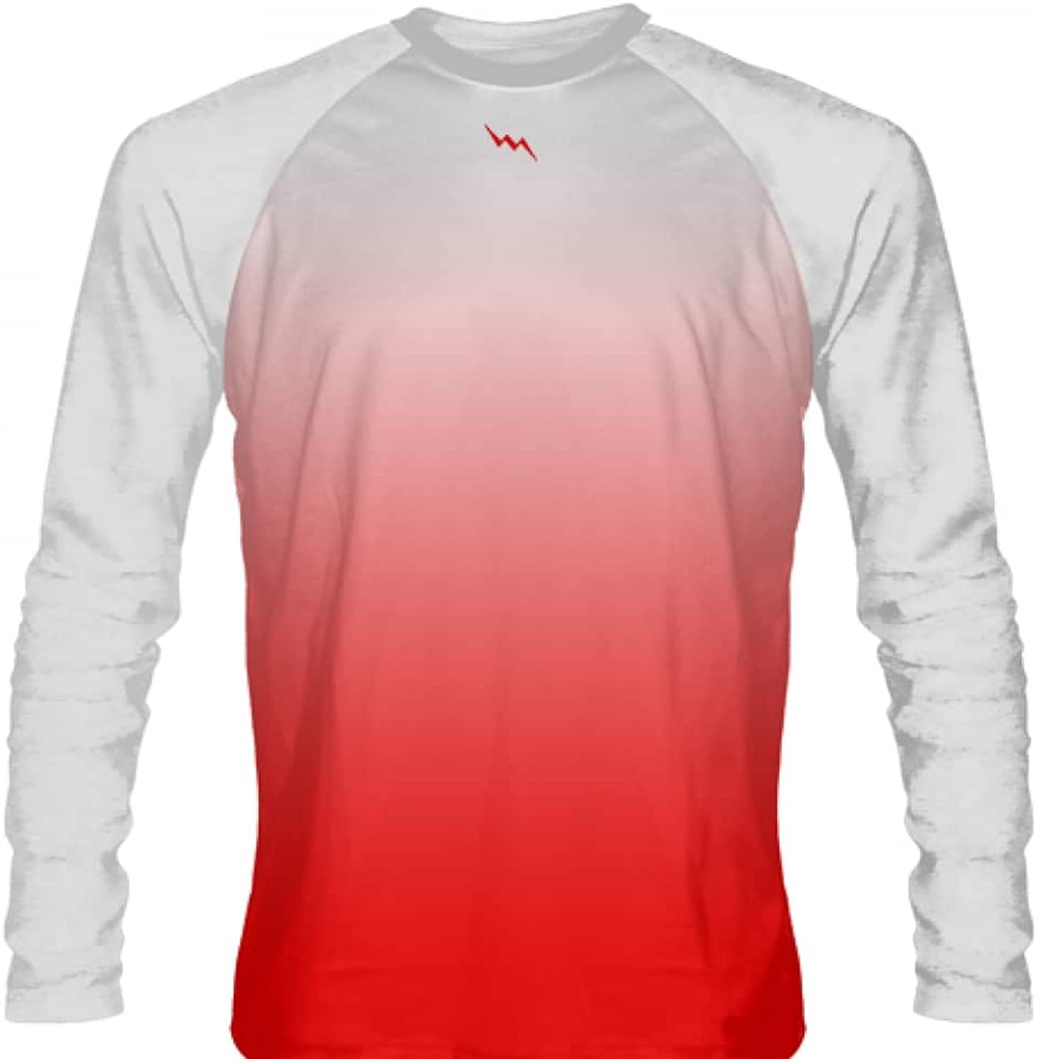 LightningWear White Red Fade Ombre Long Sleeve Shirts Basketball Long Sleeve Shirt