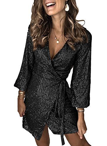GOSOPIN Damen Kleider elegant Kleid kurz Abendkleider Glänzend Cocktailkleid festlich Partykleid Paillettenkleid, V-ausschnitt: Schwarz, XL