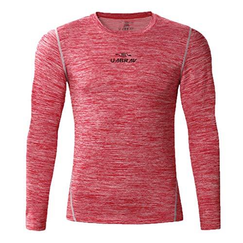 T-Shirt Homme,FNKDOR Hommes Sport Compression Manches Longues Col Rond Chemise Séchage Rapid Vetement de Fitness Jogging Cyclisme Running Blouse Tops(Rose,XL)