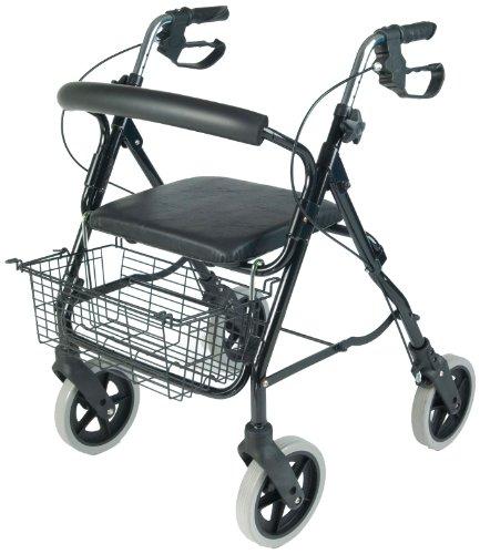 NRS Healthcare M39634 faltbarer Aluminium-Rollator/ -Gehhilfe mit 4 Rädern inklusive Einkaufskorb und Sitz