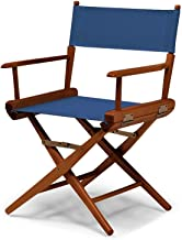 Telescope Casual World Famous Dining Height Director Chair, Blue with Walnut Frame