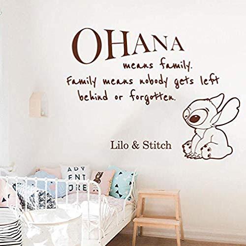 Cartoon und Stich Zitat Wandaufkleber Kinderzimmer Kinderzimmer Große Anime Familie Liebe Zitat Aufkleber Spielzimmer Vinyl Dekor 56x43cm