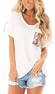 Minclouse Women's Leopard/Sequin Pocket Summer Tops Short/Long Sleeves V Neck T Shirt Casual Basic Tees
