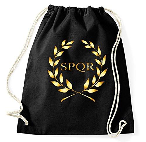 Styletex23 SPQR Rom Wappen Turnbeutel Sportbeutel, schwarz