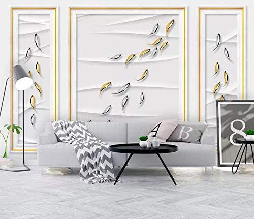 Fototapete 3D Effekt Kreative Nordische Dekorative Bilderrahmenwand Fernsehhintergrundwand Der Fische 3D 3D Tapete Tapeten Wandaufkleber-(350cmX256cm)