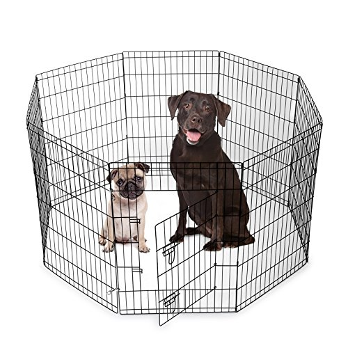 SmithBuilt Crates 8 Panel Metal Wire Popup Portable Fence Playpen Folding Exercise Yard with Door and Carry Bag, 36-Inch High, Black