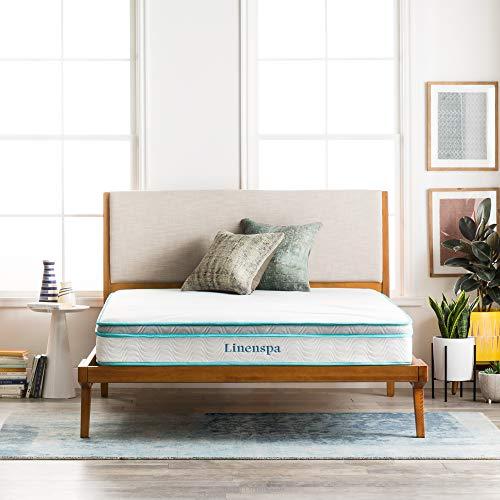 Linenspa 8 Inch Memory Foam and Innerspring Hybrid Mattress - Medium-Firm Feel - Full