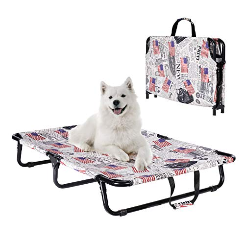 AOY Elevated Dog Bed, Raised Pet Cot with Replaceable Oxford Cover, Foldable & Portable for Indoor & Outdoor Use, Premium Tear Resistant Large Dog Bed, No Assembly Required