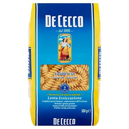 De Cecco - Fusilli 34, pasta de sémola de trigo duro - 6 piezas de 500 g [3 kg]