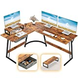CubiCubi Modern L-Shaped Desk Computer Corner Desk, 59.1' Home Office Writing Study Workstation with Small Table, Space Saving, Easy to Assemble, Rustic Brown