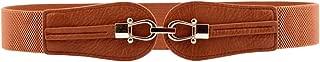 Aecibzo Women's Fashion Wide Buckle Elastic Stretch Waist Belt Waistband