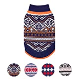 Blueberry Pet Nordic Pattern Inspired Fair Isle Navy Blue Snowflakes Dog Sweater, Back Length 14', Pack of 1 Clothes for Dogs