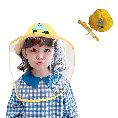 TENDYCOCO Visiera di Sicurezza Visiera a Pieno Facciale Scudo Anti-Sputo Protezione della Testa degli Occhi Cappucci Protettivi per Bambini Neonati Giallo