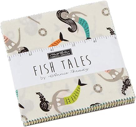 MODA Fish Tales Charm Pack by Annie Brady; 42-5 inch Precut Fabric Quilt Squares