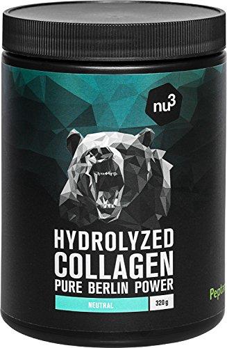 nu3 Colágeno hidrolizado de bovino - 90% de proteína - 320g de polvo - Suplemento alimenticio puro - Ideal para músculos, articulaciones y tejido conectivo - Sabor neutro - Sin gluten ni lactosa