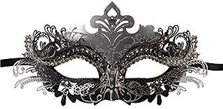 Vanki 1 Pcs Masquerade Mask Laser Cut Metal Shiny Rhinestone Party Mask