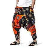 GenericBrands Taurner Pantalones Anchos Ligeros Pantalón de Lino de Algodón Pantalones Harem Estampados para Hombre Hippy Pants