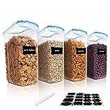 Vtopmart 4L Große Vorratsdosen Set,Müsli Schüttdose & Frischhaltedosen, BPA frei Kunststoff Vorratsdosen luftdicht, Satz mit 4 + 24 Etiketten für Getreide, Mehl, Zucker usw (Blau)