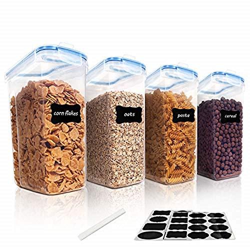 Vtopmart 4L Recipientes para Cereales Almacenamiento de Alimentos, Jarras de Almacenamiento de Plástico con Tapa Hermética...