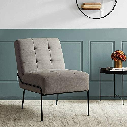 Best eLuxurySupply Accent Chair - Armless Upholstered Chair with Stain Resistant Fabric and Elegant Pintu