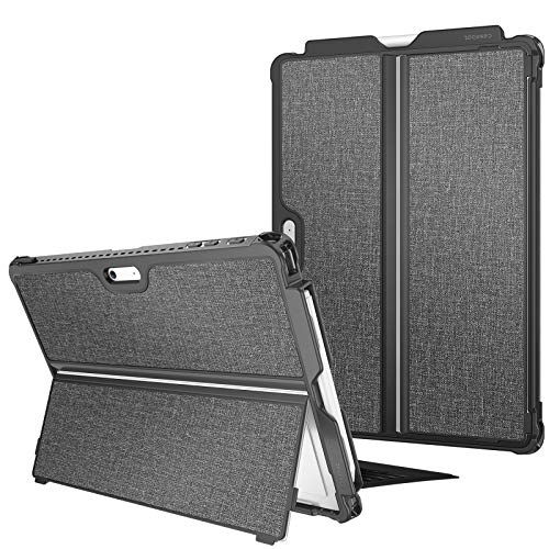 FINTIE Hard Case for Microsoft Surface Pro 7/ Pro 6/Pro 5/Pro LTE - Shockproof Folio Protective Rugged Cover Compatible with Type Cover Keyboard and Original Kickstand, Grey
