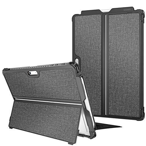 Fintie Hülle für Surface Pro 7/ Pro 6/ Pro 5/ Pro LTE, stoßfeste, robuste Schutzhülle mit Stifthalter & Hartschalen-Abdeckung für den Ständer, kompatibel mit der Type Cover Tastatur, dunkelgrau