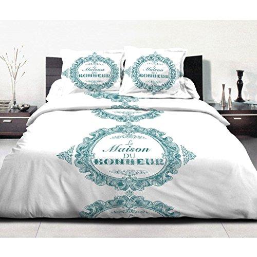 Best Interior Parure de couette 100% coton Bonheur - turquoise - housse-de-couette-220x240cm