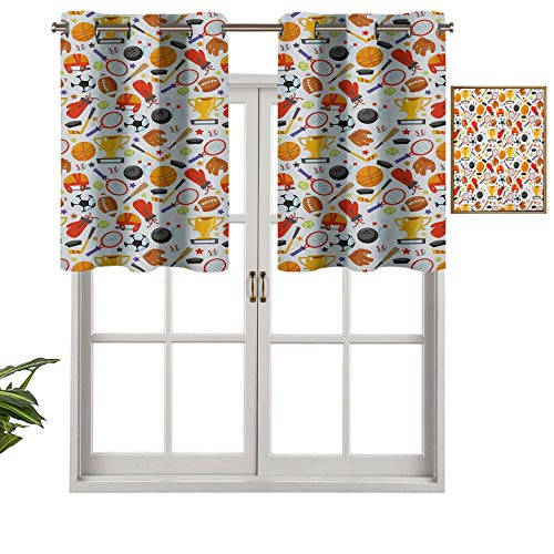 Hiiiman Blackout Curtains Valance with Grommets Abstract Cartoon Style Sporting Goods Tennis Racket Ball Bowling Star Filled Pattern, Set of 1, 42'x18' for Living Room Bedroom Home Decor