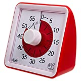 Wynnline 60-Minute Visual Analog Timer - Countdown Clock for Classroom, Kids with Autism, Silent, No Loud Ticking – Kitchen Minute Timer with Low & High, 3 & 60 Sec Alarm, Red